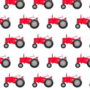 tractor - red on white
