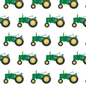 tractor - green on white