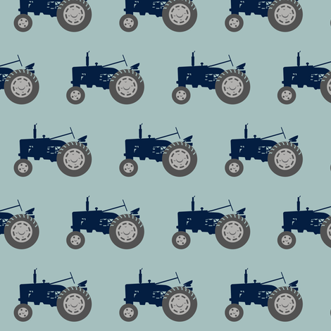 tractor - navy and dusty blue fabric by littlearrowdesign on Spoonflower - custom fabric