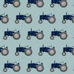 tractor - navy and dusty blue
