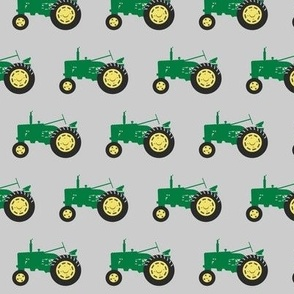tractors - green on grey