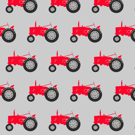tractor - red on grey fabric by littlearrowdesign on Spoonflower - custom fabric