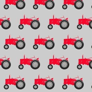 tractor - red on grey