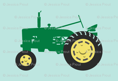 tractor - green on blue