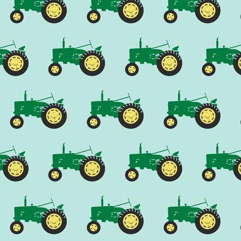 tractor - green on blue fabric by littlearrowdesign on Spoonflower - custom fabric