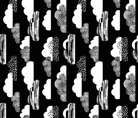 clouds black white fabric by charlottewinter on Spoonflower - custom fabric