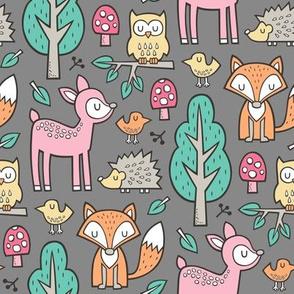 Forest Woodland with Fox Deer Hedgehog Owl & Trees on Dark Grey