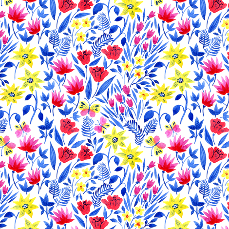 watercolor flowers fabric by solnca_lych on Spoonflower - custom fabric