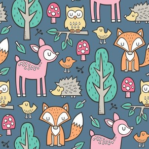 Forest Woodland with Fox Deer Hedgehog Owl & Trees on Blue Denim Navy