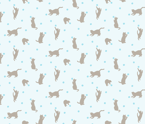 Polka Dot Cats in Blue fabric by figandfossil on Spoonflower - custom fabric