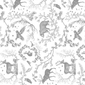 Winter Woodland Toile (grey + white) railroad