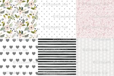 6 loveys: gray sprigs and blooms, black x, lace 66-9, black diagonal stripe hearts, black gouache stripe, arrow stripes 169-1