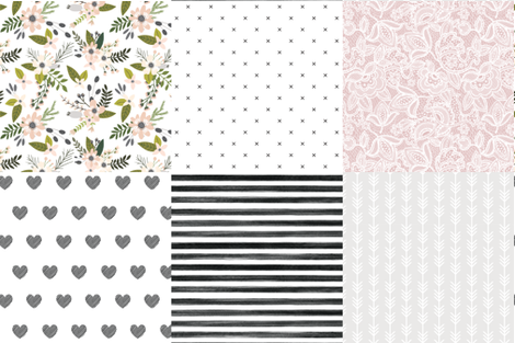 6 loveys: gray sprigs and blooms, black x, lace 66-9, black diagonal stripe hearts, black gouache stripe, arrow stripes 169-1 fabric by ivieclothco on Spoonflower - custom fabric