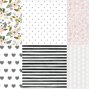 6 loveys: gray sprigs and blooms, black x, lace 66-9, black diagonal stripe hearts, black gouache stripe, arrow stripes 169-1