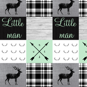 Little man Mint Charcoal and plaid with Antlers