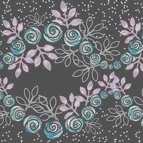 Floral Rose Garland Borders in Purple, Gray, Aqua by Amborela
