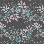Floral Rose Garland Borders in Purple, Gray, Aqua