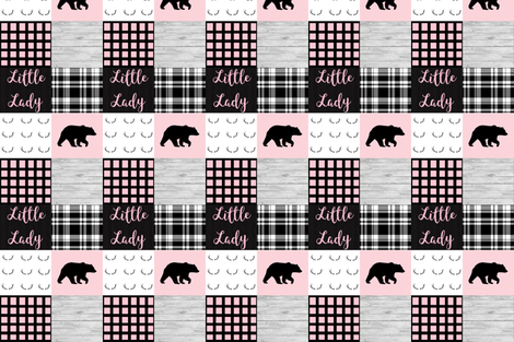 Little lady pink bear wholecloth fabric by moonsheets on Spoonflower - custom fabric