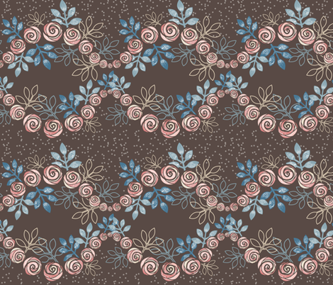 Floral Rose Garland Borders in Peach, Blue, Brown by Amborela fabric by amborela on Spoonflower - custom fabric