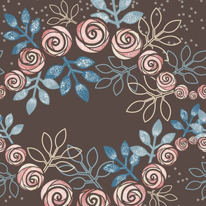 Floral Rose Garland Borders in Peach, Blue, Brown by Amborela