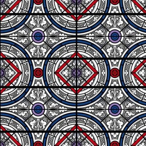 Red-Blue Grisaille Stained Glass - Salisbury