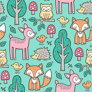 Forest Woodland with Fox Deer Hedgehog Owl & Trees on Mint Green