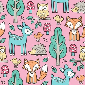 Forest Woodland with Fox Deer Hedgehog Owl & Trees on Pink