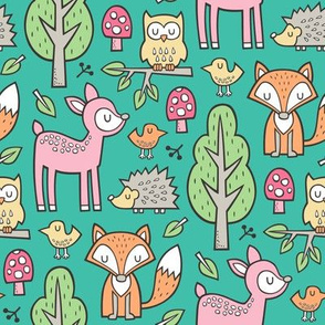 Forest Woodland with Fox Deer Hedgehog Owl & Trees on Dark Green