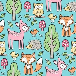 Forest Woodland with Fox Deer Hedgehog Owl & Trees on Aqua Blue
