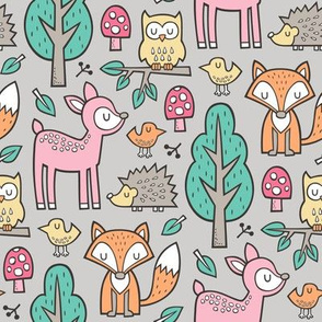 Forest Woodland with Fox Deer Hedgehog Owl & Trees on Light Grey