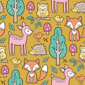 Forest Woodland with Fox Deer Hedgehog Owl & Trees on Mustard Yellow