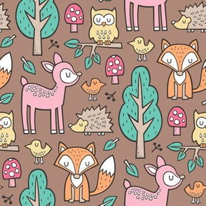 Forest Woodland with Fox Deer Hedgehog Owl & Trees on Brown