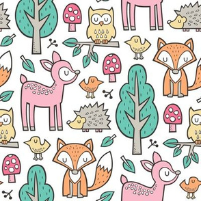 Forest Woodland with Fox Deer Hedgehog Owl & Trees on White