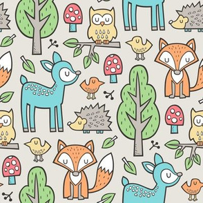Forest Woodland with Fox Deer Hedgehog Owl & Trees on Sand
