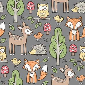 Forest Woodland with Fox  Brown Deer Hedgehog Owl & Trees on Dark Grey