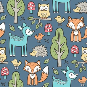 Forest Woodland with Fox Blue Deer Hedgehog Owl & Trees on Dark Navy Blue