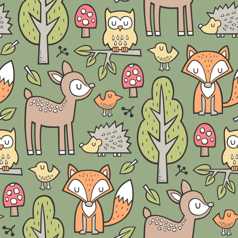 Forest Woodland with Fox Deer Hedgehog Owl & Trees on Dark Olive Green fabric by caja_design on Spoonflower - custom fabric