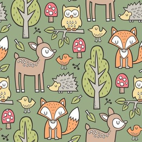 Forest Woodland with Fox Deer Hedgehog Owl & Trees on Dark Olive Green