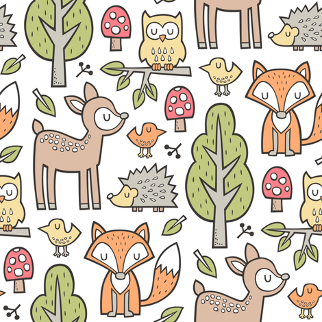 Forest Woodland with Fox Brown Deer Hedgehog Owl & Green Trees on White fabric by caja_design on Spoonflower - custom fabric