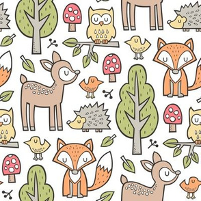 Forest Woodland with Fox Brown Deer Hedgehog Owl & Green Trees on White