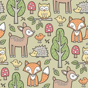 Forest Woodland with Fox Deer Hedgehog Owl & Trees on Olive Green