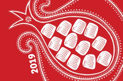 2019 Calendar, Monday / Pomegranate fabric by marketa_stengl on Spoonflower - custom fabric