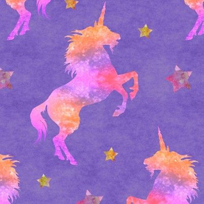 Pink Watercolor Unicorns on Purple