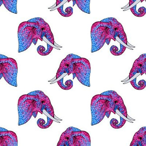 Blue and Magenta Pointillism Elephant Head Pattern