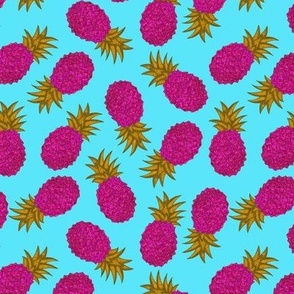 Pink and Gold Pineapple on Baby Blue Background