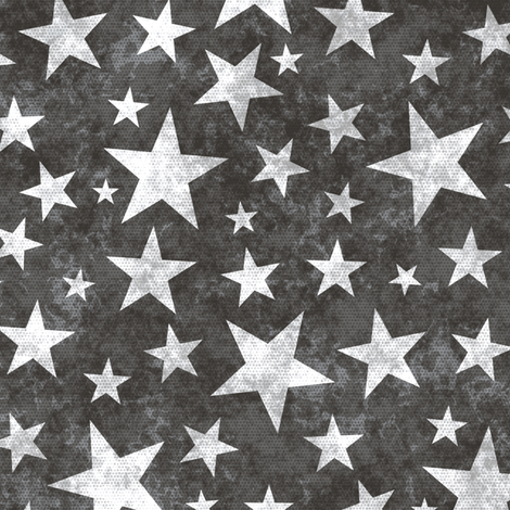 Grunge Distressed Stars White on Black fabric by caja_design on Spoonflower - custom fabric