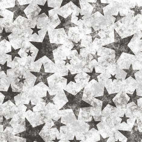 Grunge Distressed Stars Black on White fabric by caja_design on Spoonflower - custom fabric