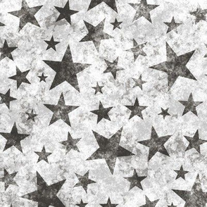 Grunge Distressed Stars Black on White