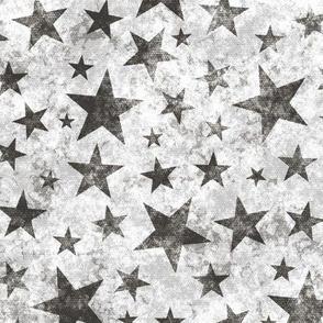 Grunge Distressed Stars Black on White