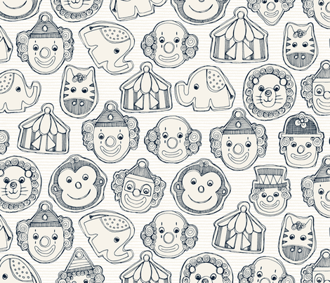 circus cookies indigo ivory fabric by scrummy on Spoonflower - custom fabric